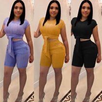 Solid Bodycon Shorts 2 Piece Matching Set NY-8725