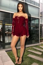 Slash Neck Hollow Out Lace Rompers LX-3068-1