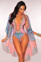 Floral Print Swimsuit Long Cloak And One Piece Bikinis Sets OMR-9559