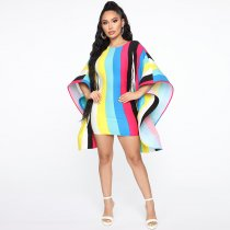 Colorful Stripe Irregular Sleeve Backless Mini Dresses BY-3250