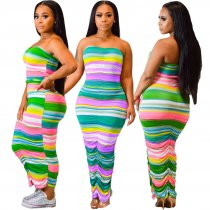 Colored Stripes Strapless Ruching Bodycon Maxi Tube Dress ML-7224