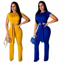 Solid Short Sleeve Long Pant 2 Piece Set NK-8361