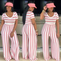 Plus Size Striped O Neck Short Sleeve Wide Leg Jumpsuit PIN-8395