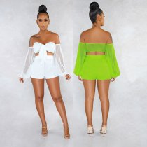 Sexy Mesh See Through Off Shoulder 2 Piece Shorts Set NY-8810
