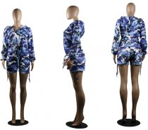 Camouflage Print Hooded Shorts Set MDO-9021
