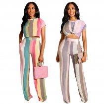 Colorful Striped Short Sleeve Two Piece Sets TE-3732
