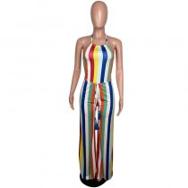 Colored Stripe Halter Backless Sexy One Piece Jumpsuit MYP-8865
