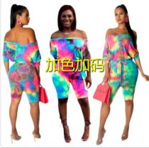 Plus Size Printed Slash Neck Half Length Playsuit SH-3593