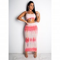 Tie Dye Print Strap Tops And Maxi Skirt 2 Piece Set CHY-1134