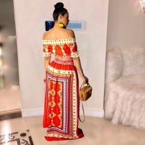 Printed Off Shoulder Long Skirt 2 Piece Dress SMR9193