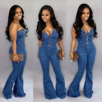 Sexy Denim Strapless Bodycon Jeans Jumpsuits OSM-3281