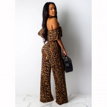 Leopard Print Off Shoulder Sashes Jumpsuits CHY-1184