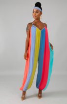 Rainbow Stripes V Neck Spaghetti Strap Loose Jumpsuits QZX-6085