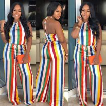 Colorful Striped Halter Backless One Piece Jumpsuits MOM-5001