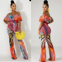 Sexy Printed Off Shoulder V Neck Jumpsuits YSF-307