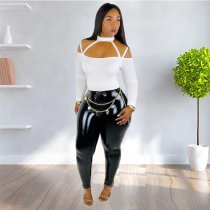 Sexy Halter Top+PU Leather Pants Two Piece Sets KSN-5056