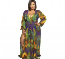 Big Size 5XL Printed V Neck Long Sleeve Maxi Dresses YIF-1055