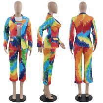 Colorful Tie Dye Print Blazer Cropped Pants 2 Piece Suits PN-6227