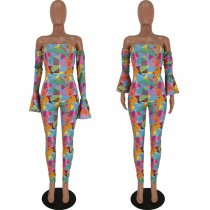 Colored Geometric Print Sexy Off Shoulder Jumpsuits YH-5094