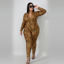 Big Size 4XL Leopard Print Zipper Long Sleeve Jumpsuits YD-8119