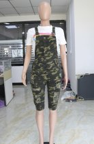 Casual Camouflage Print Half Length Suspender Jumpsuits CYA-8167