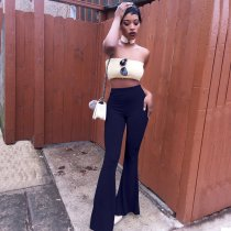 Solid High Waist Casual Long Flare Pants BT-013