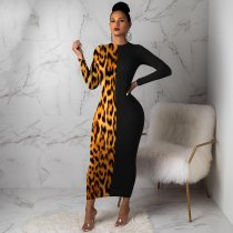 Trendy Leopard Print Patchwork Long Maxi Dresses MA-248
