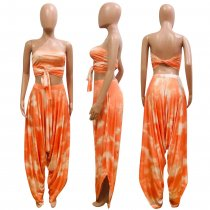 Tie Dye Print Tube Tops And Loose Harem Pants Suit NIK-047