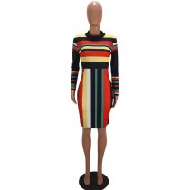 Colorful Striped Long Sleeve Print Dresses SMD-1001