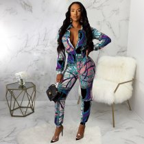Chain Print Long Sleeve Turndown Collar Butons Jumpsuits SMR9377