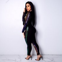 Sexy Sequin Deep V Neck Long Sleeve Club Jumpsuits BN-9154