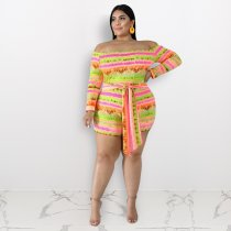 Plus Size 4XL Colorful Striped Slash Neck Rompers ME-5067