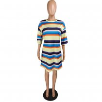 Rainbow Striped Half Sleeve Casual Loose Mini Dress YMT-6108