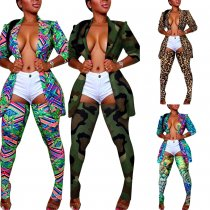 Plus Size Sexy Printed Blazer Top And Stockings 2 Piece Sets NY-8854