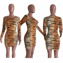 Tiger Stripe Print Long Sleeves Mini Dresses OJS-9160