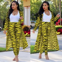 Plus Size Zebra Stripe Long Cardigan Pants 2 Piece Sets OMF-136