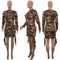 Camouflage Print Long Sleeves Mini Dresses CH-8072