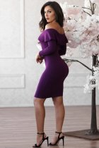 Sexy Slash Neck Long Sleeve Bodycon Dresses CL-6031