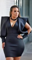Plus Size Sexy V Neck Hollow Long Sleeve Mini Dress OJS-9165
