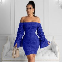 Sexy Slash Neck Puff Sleeve Ruching Bodycon Dress HM-6167