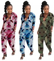 Camouflage Print V Neck Loose One Piece Jumpsuit OY-6068