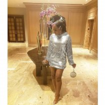 Shining Sequin Hooded Long Sleeve Mini Dress LQ-5110