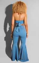 Sexy Tube Tops And Flared Pants Two Piece Sets LUO-3037