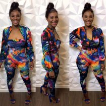 Trendy Printed Jumpsuits Short Jacket 2 Piece Set CY-1953