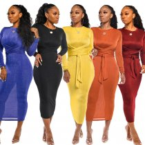 Solid Long Sleeve Tie Up Bodycon Long Maxi Dress MIL-065