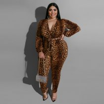 Plus Size 4XL Leopard Print V Neck Sashes Jumpsuits ME-5072