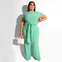 Plus Size 5XL Solid Short Sleeve Two Piece Sets OSS-19338