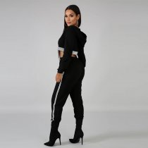Casual Hooded Zipper Long Pants Two Piece Suits MDO-9082