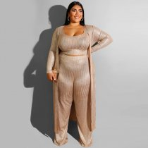 Plus Size Long Cardigan+Tank Top+Pants 3 Piece Sets OSS-19390