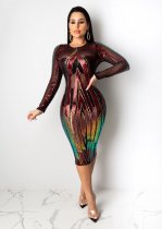 Sexy See Through Sequined Midi Party Club Dresses CYA-8198